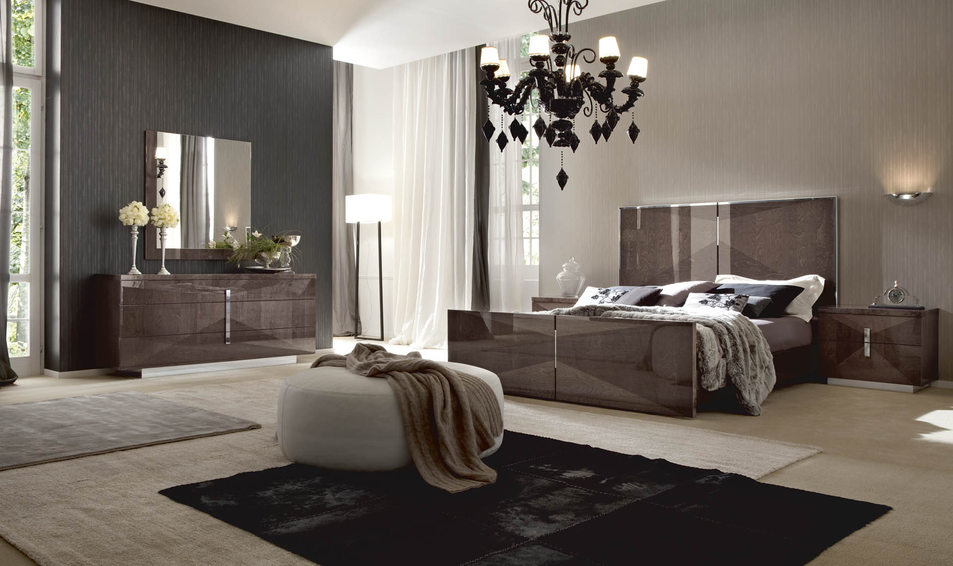 Alf Eva Bedroom Collection High Gloss Mink Birch Finish Unique Furniture