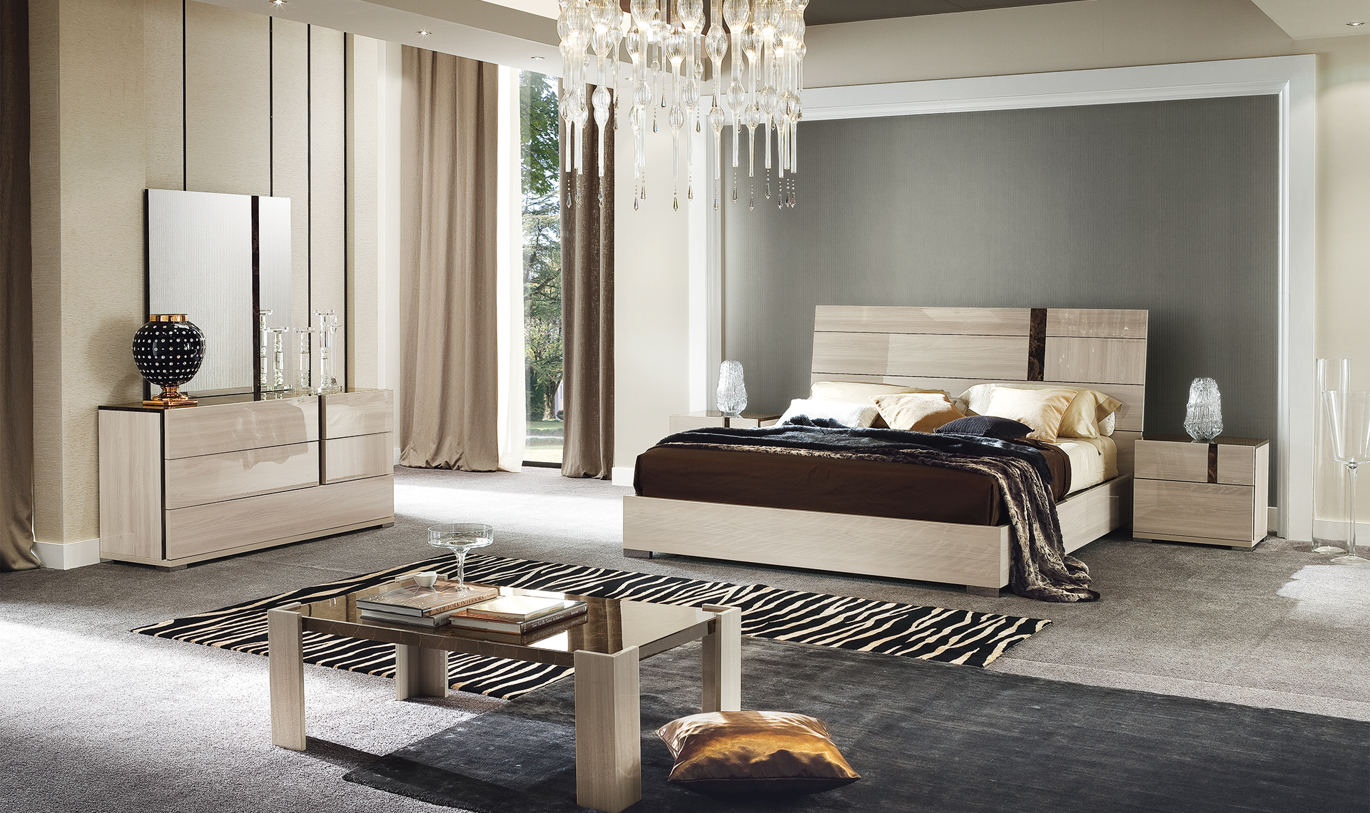 Alf Teodora Bedroom Collection High Gloss Light Elm Eco Veneer Emperador Stone Finish Unique