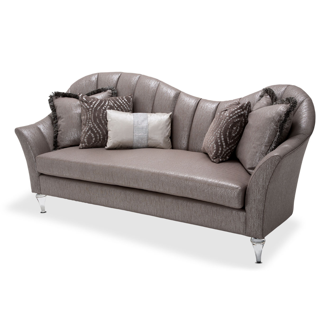 Amini Maritza Collection Contemporary Sofa With Acrylic Legs