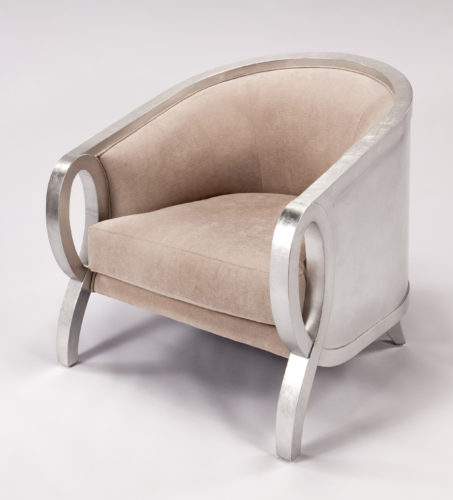 Beige and Silver Accent Chair