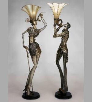 Man Woman Floor Lamp Sculpture
