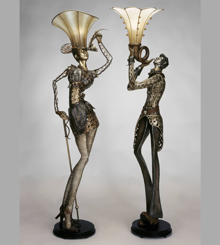 Man Woman Floor Lamp Sculpture