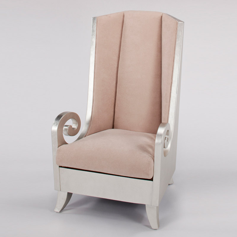 Silverleaf and Beige High Back Chair