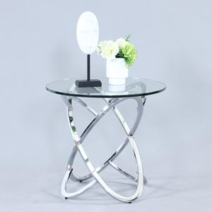 Chintaly Link Chrome End Table With Glass Top