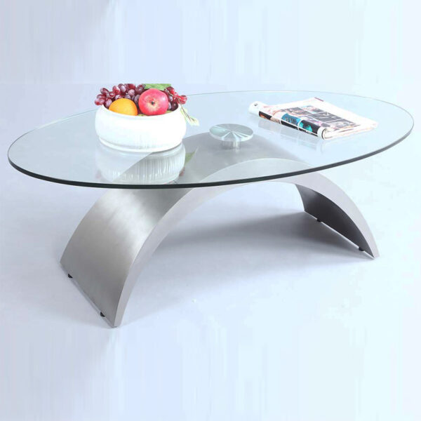 Oval Shape Glass Top Cocktail Table