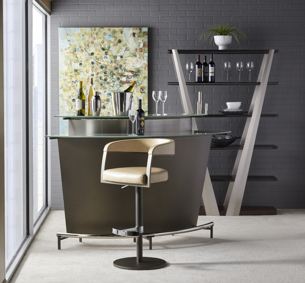 Elite Modern Martini Bar With Frosted Glass Unique Furniture