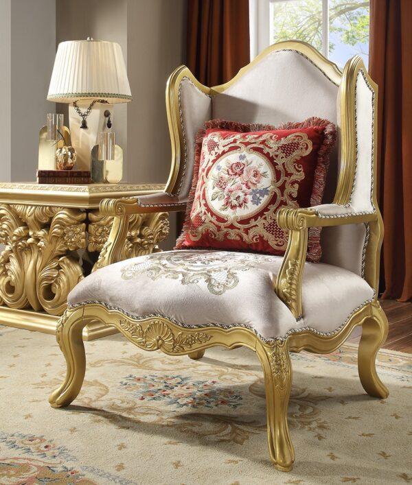 Homey Design 3pc Luxurious Gold Sofa Set