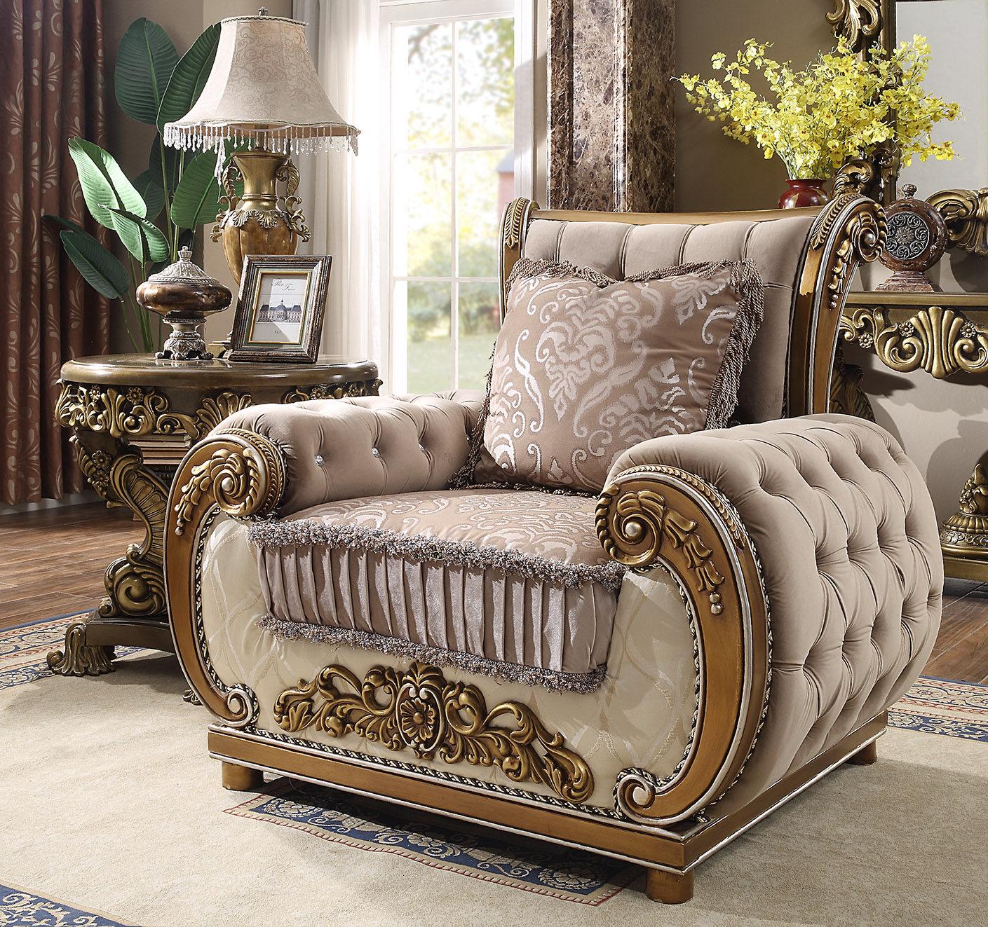 Luxurious Perfect Brown 3pc Sofa Set