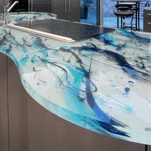 ThinkGlass thermoformed glass Kitchen Countertop
