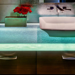 ThinkGlass thermoformed glass bathroom countertops