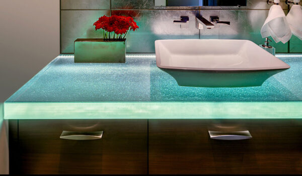 thermoformed glass bathroom countertops