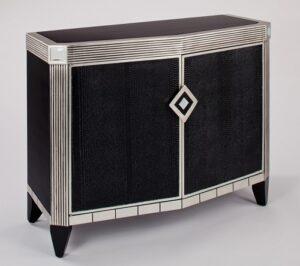 Faux black leather console cabinet