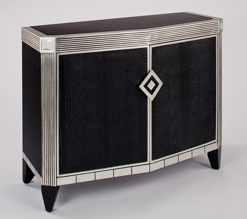 Faux black leather console cabinet