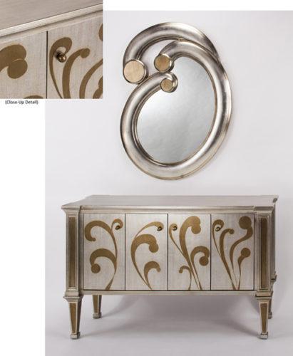 Goldleaf Mirror Console Cabinet