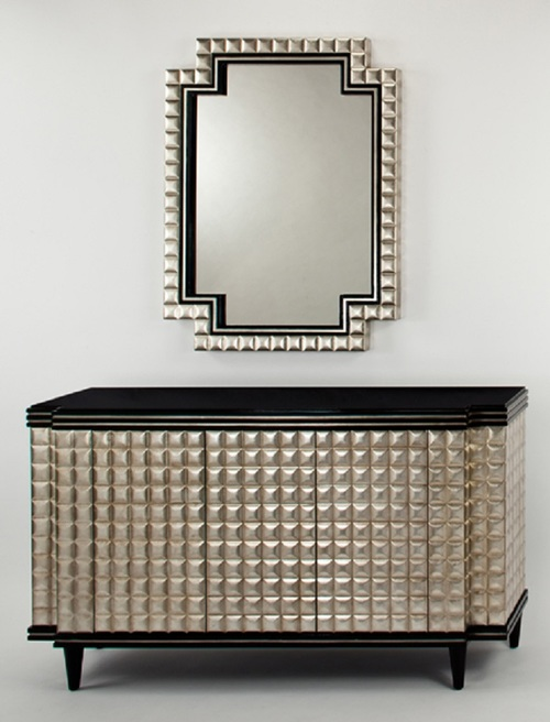 Old World Silver Mirror Console Cabinet