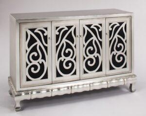 Silverleaf Black Glass Console Cabinet