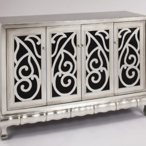Silverleaf Black Glass Console Cabinet