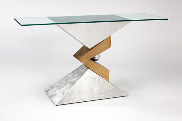 Copper Gold Console Table