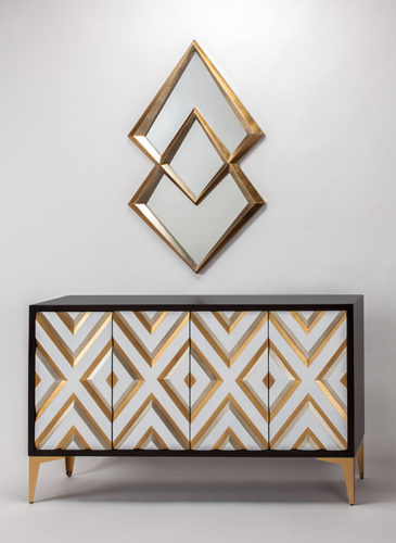 Gold Champagne Console Cabinet