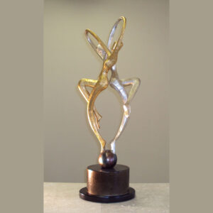 Modern Entwined Figures Sculpture