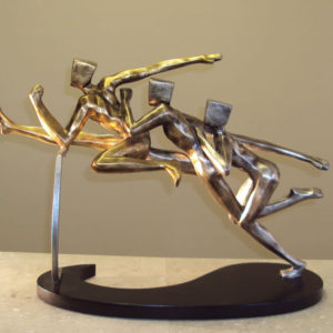 Modern Hurdling Runners Sculpture