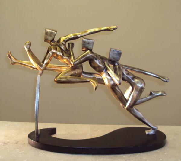 Modern Hurdling Runners Sculpture