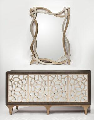 Silver Champagne Console Cabinet