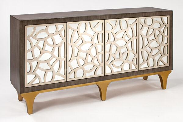 Silver Champagne Console Cabinet0