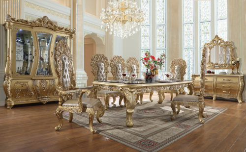 Antique Gold 9pc Dining Table Set