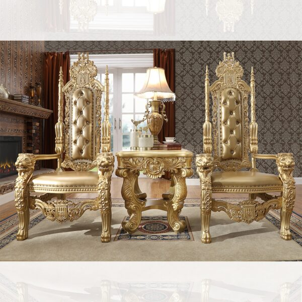 Glamorous Antique Gold 2 King Chairs