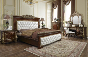 Glamorous Antique Gold 5pc Bedroom Set