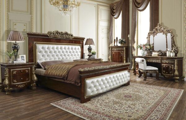 Glamorous Antique Gold 5pc Bedroom Set