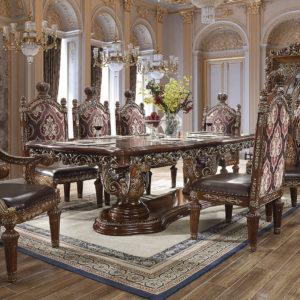 Glamorous Antique Gold 9pc Dining Set