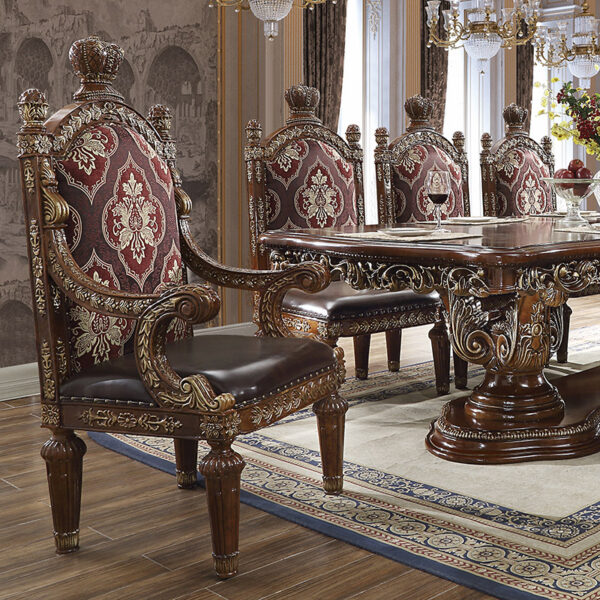 Glamorous Antique Gold 9pc Dining Set
