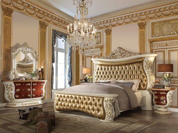 Glamorous Antique Ivory 5pc Bedroom Set