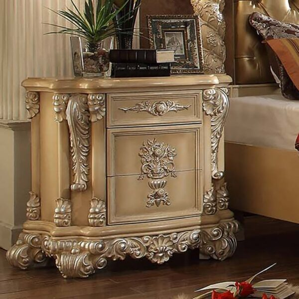 Glamorous Antique Silver Frost 5pc Bedroom Set