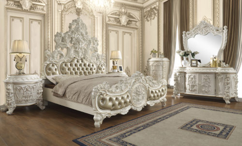 Glamorous Antique White 5pc Bedroom Set