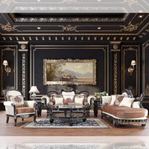 Glamorous Black Enamel 3pc Sofa Set