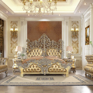 Glamorous Bright Gold 5pc Bedroom Set