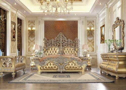 Glamorous Bright Gold 5pc Bedroom Set