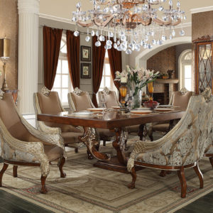 Glamorous Brown Cherry 7pc Dining Table Set