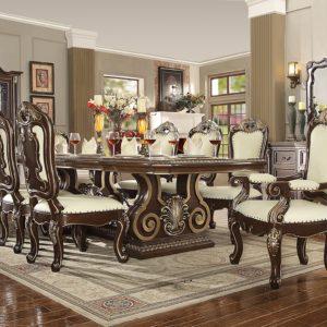 Glamorous Brown Cherry 9pc Dining Set
