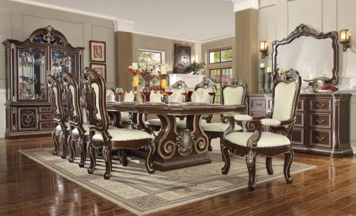 Glamorous Brown Cherry 9pc Dining Set