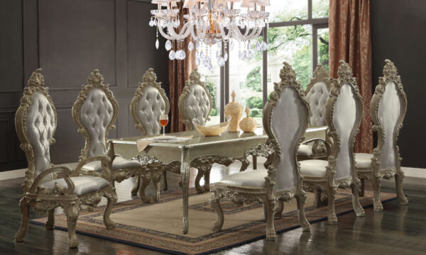 Glamorous Champagne Gold 9pc Dining Set
