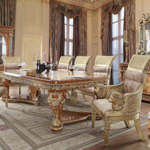Glamorous Golden Tan 7pc Dining Set