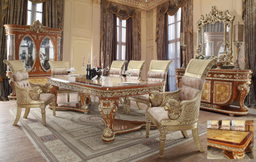 Glamorous Golden Tan 7pc Dining Set