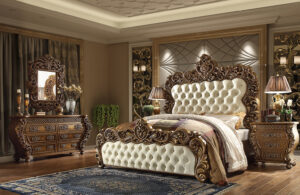 Glamorous Leather Brown 5pc Bedroom Set