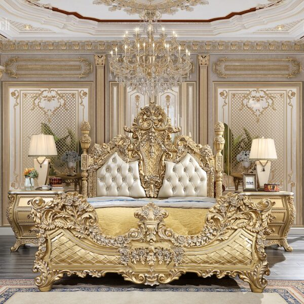 Glamorous Metallic Gold 5pc Bedroom Set