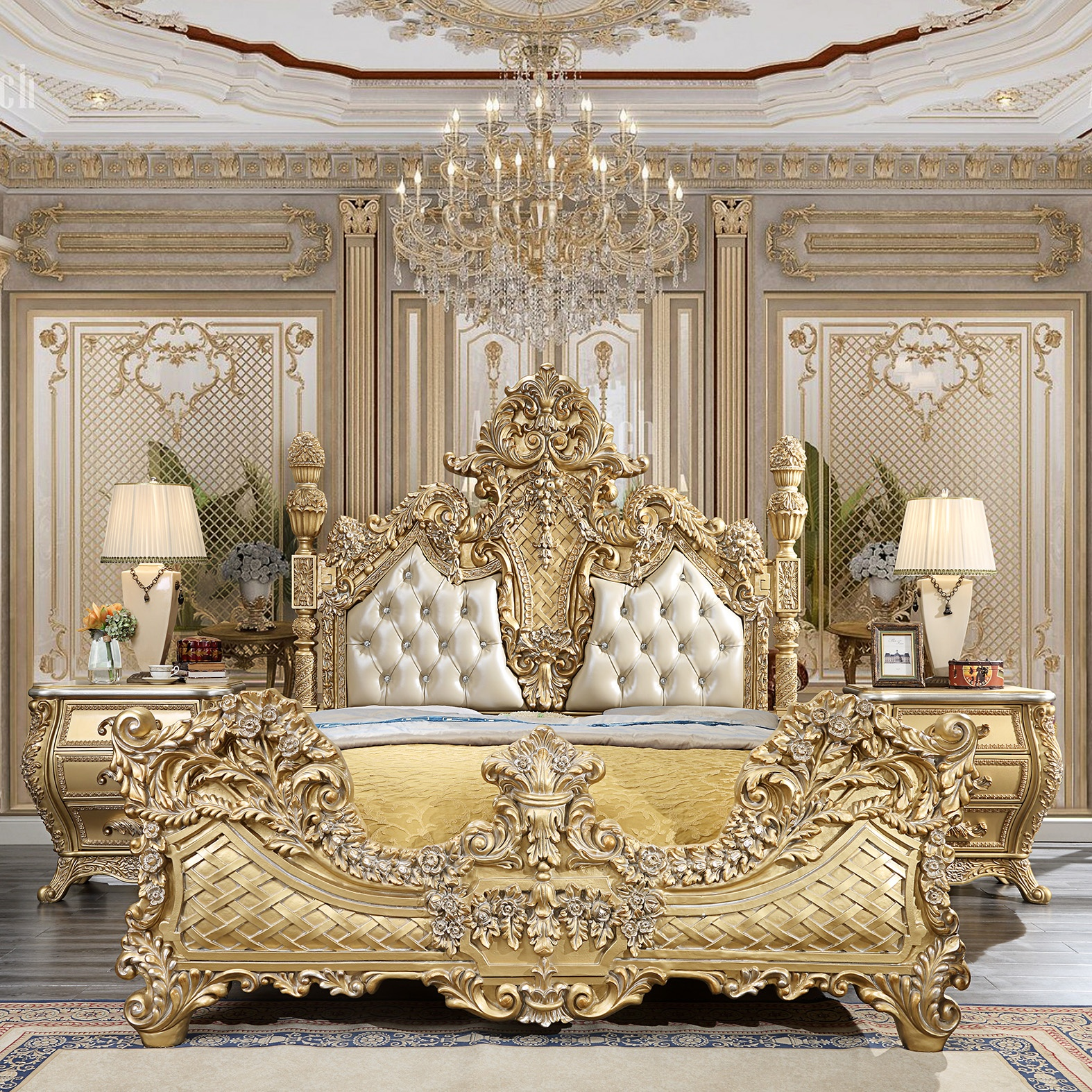 Traditional Homey Design Glamorous Metallic Gold 5pc ...
