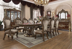 Glamorous Metallic Gold 9pc Dining Set